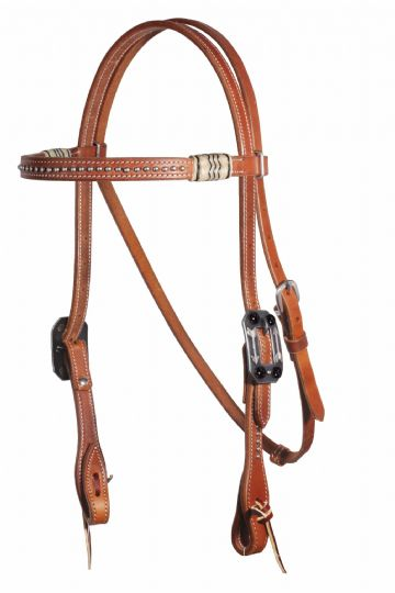Pro Choice Schutz Brothers Natural/Black Rawhide Dotted Browband Headstall - Natural